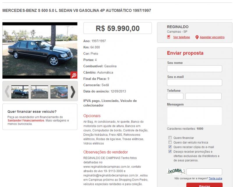 W140 S500 1997 - R$ 59.900,00 S500webmotors_zps299a6927