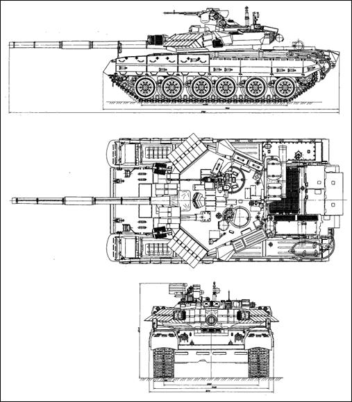 دبابة القتال الرئيسية T-80 الروسية T-84-drawing-01