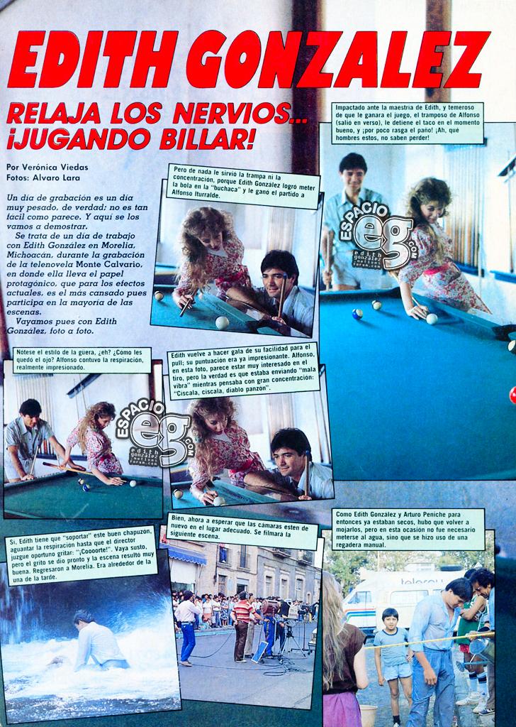 1986. [ SCANS ] Edith González relaja los nervios ¡jugando billar! Edith81a