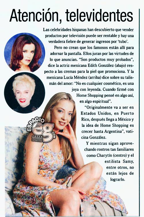 2001-07-24. [ NOTA & SCAN ] Edith González ampliará su red de ventas Cremas