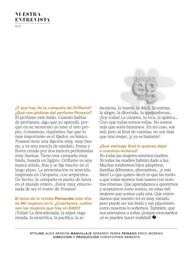 """2015-05. [ SCANS ] """"Quiero una vida con significado"""" (Revista Fernanda) Edith49"""