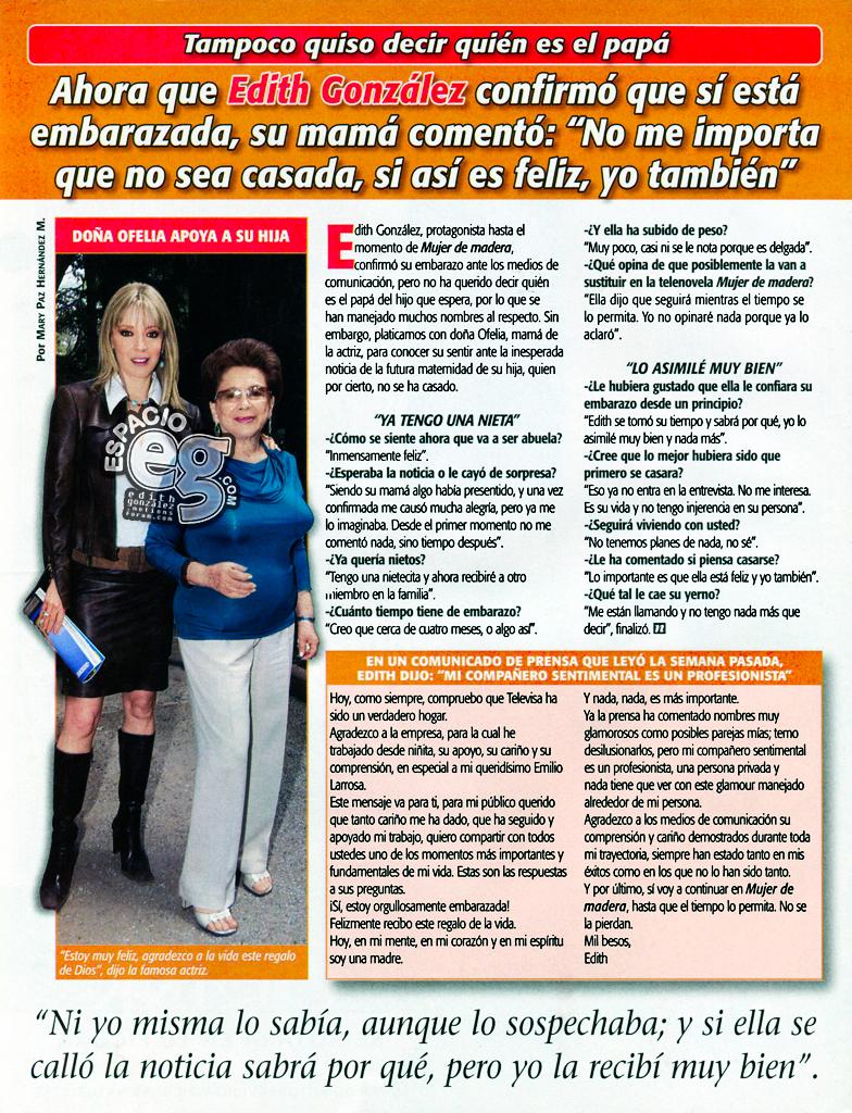 2004-05-11. [ SCAN ] Doña Ofelia habla del embarazo de Edith  Embarazo1