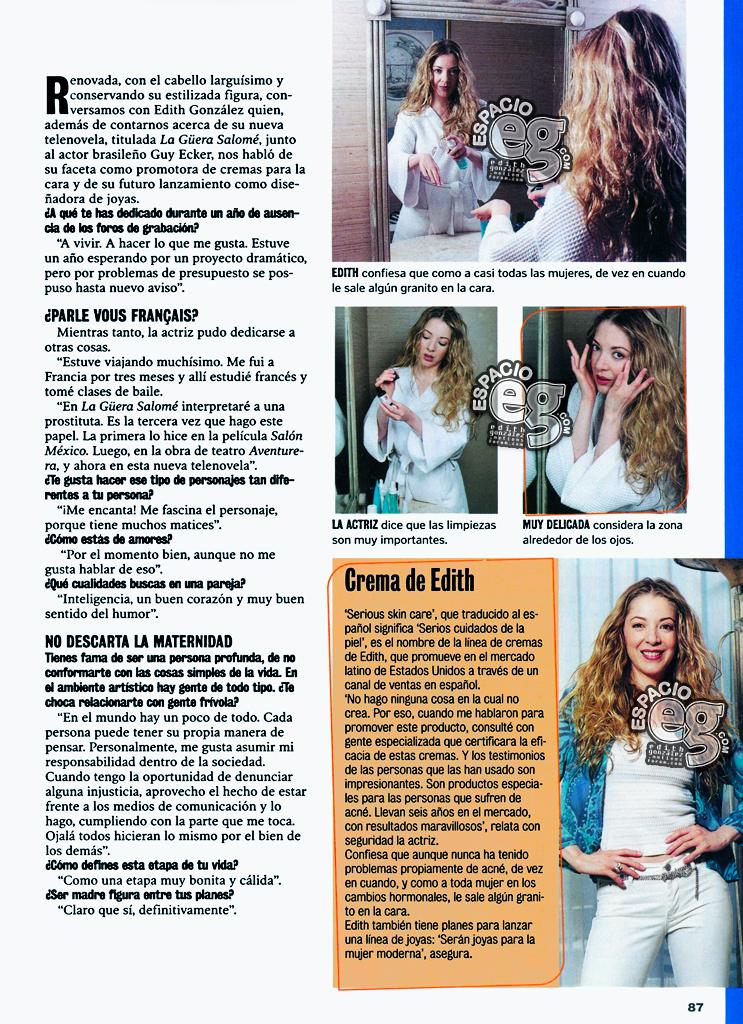 2001-03-20. [ NOTA & SCAN ] Edith González vende cremas en la TV de EU Cremas2