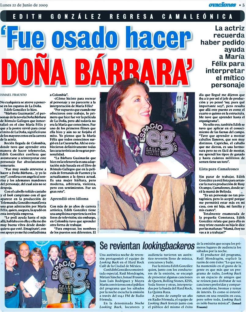 "2009-06-22. [ SCAN ] ""Fue osada hacer Doña Bárbara"" Periodico3b"