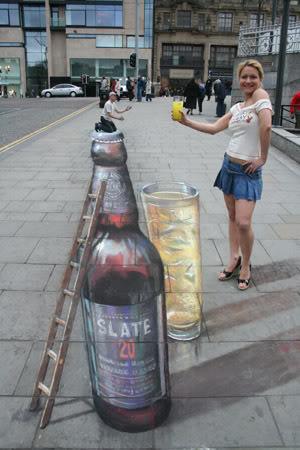 Julian Beever en Argentina Botella