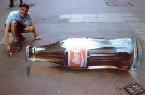 Julian Beever en Argentina Cocacola