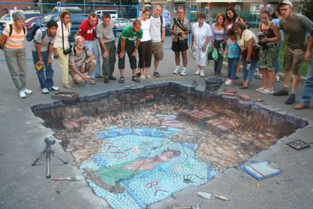Julian Beever en Argentina Mosaico