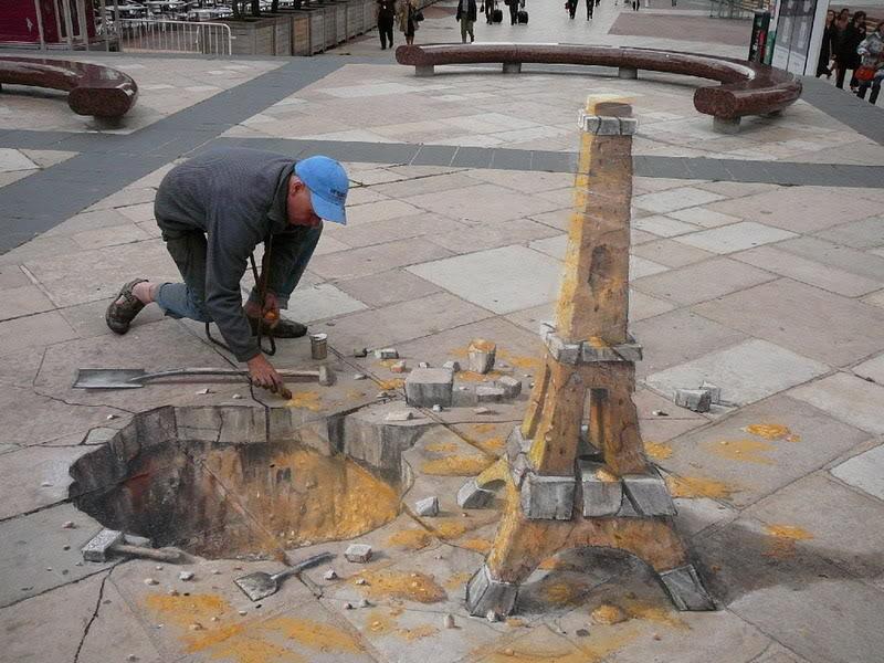 Julian Beever en Argentina Torre