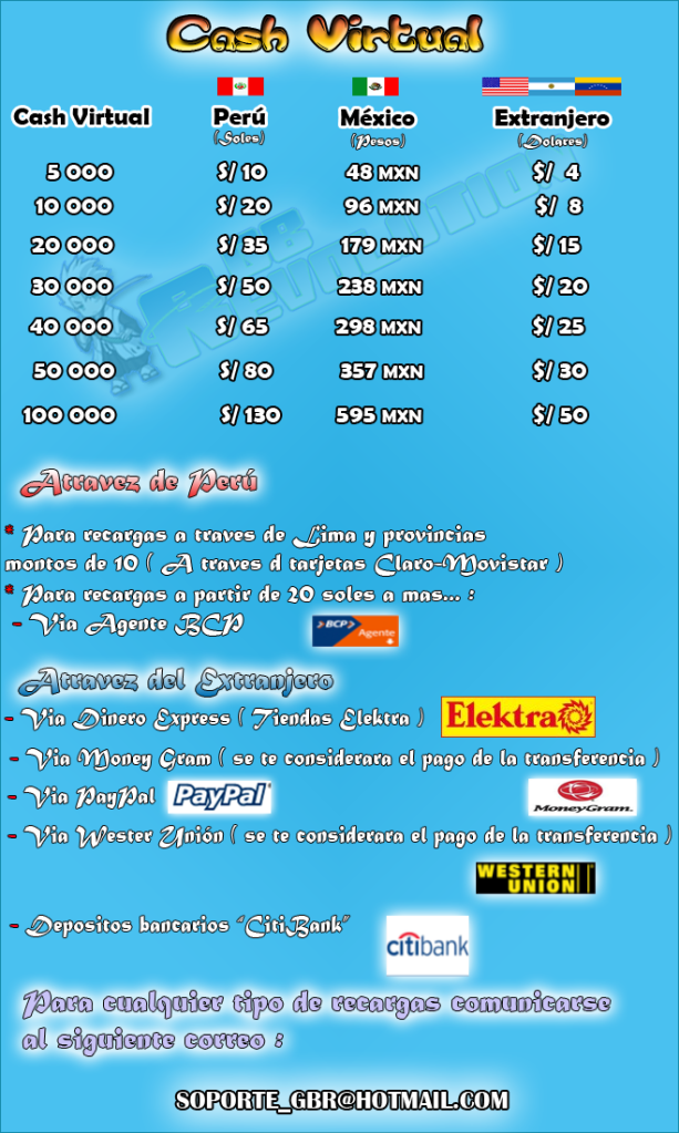 Venta de Cash Virtual  CASHJUNIO