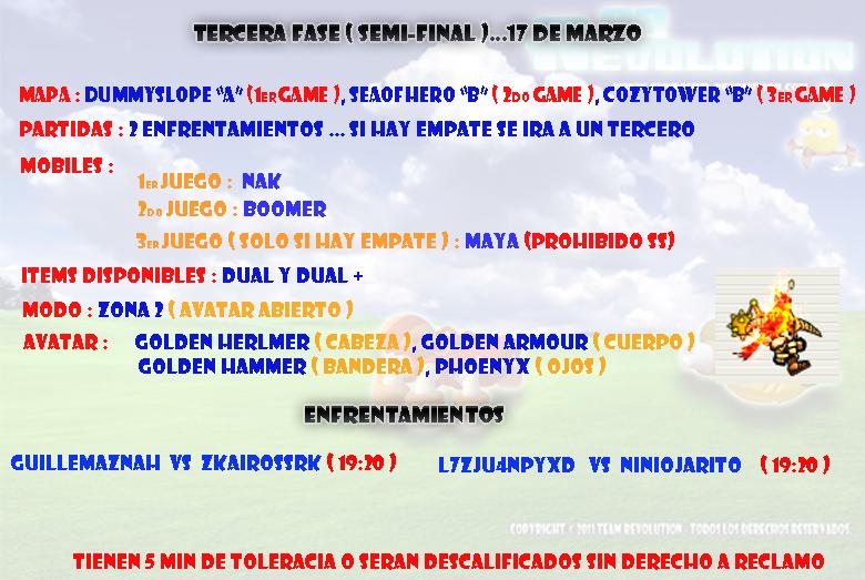 [Torneo]Semifinales Jueves 17 de Marzo Semifinalhora