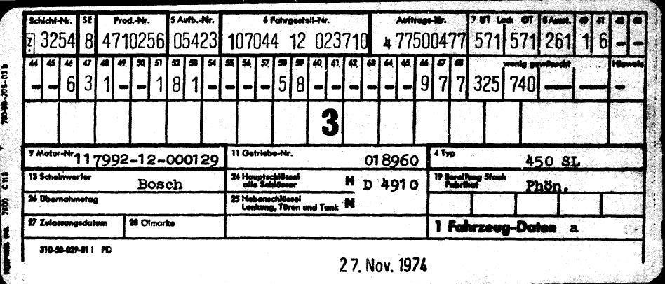(C107): Informações do VIN Datacard