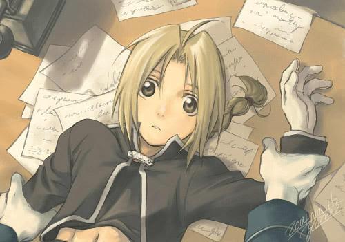 Fullmetal alchemist  (Manga + Anime) RoyEd-EdwardpinnedonRoysDesk