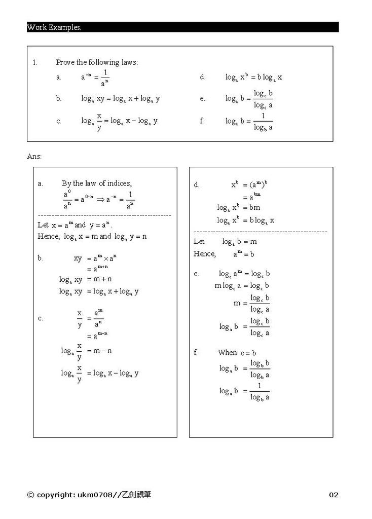 Add Math - form 4 chapter 5 notes Log2