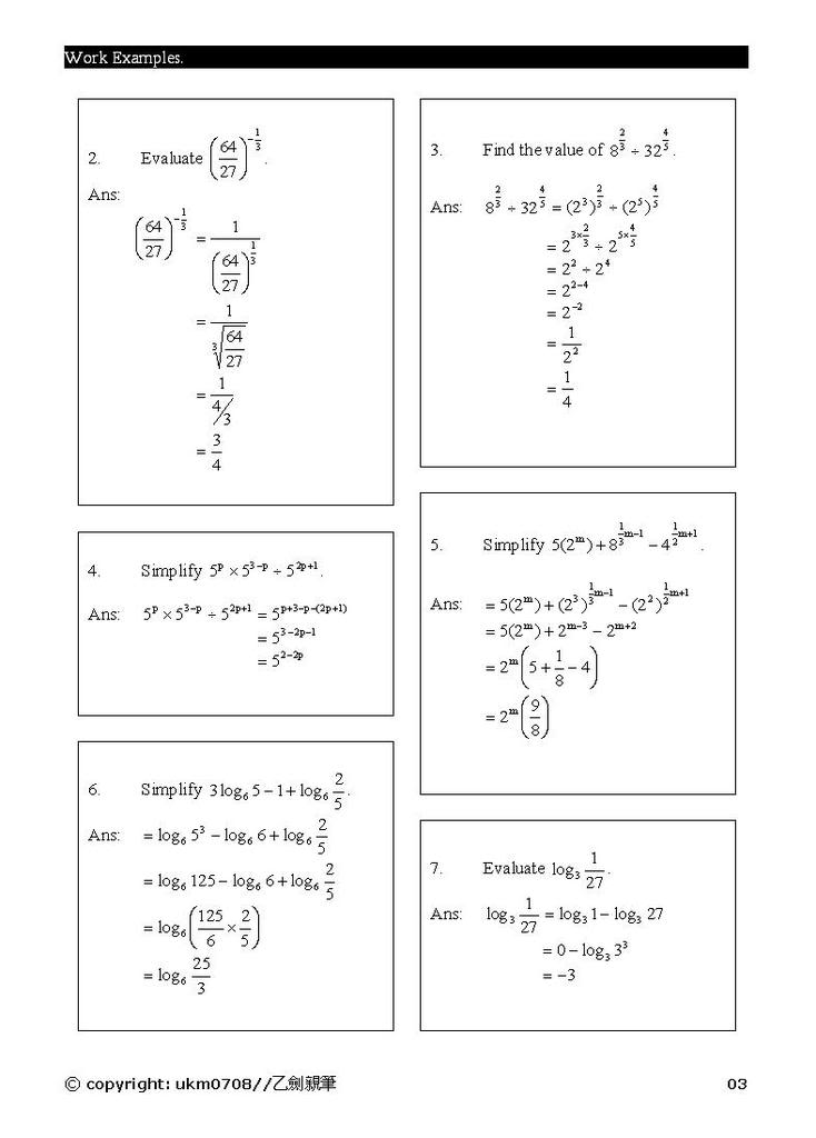 Add Math - form 4 chapter 5 notes Log3