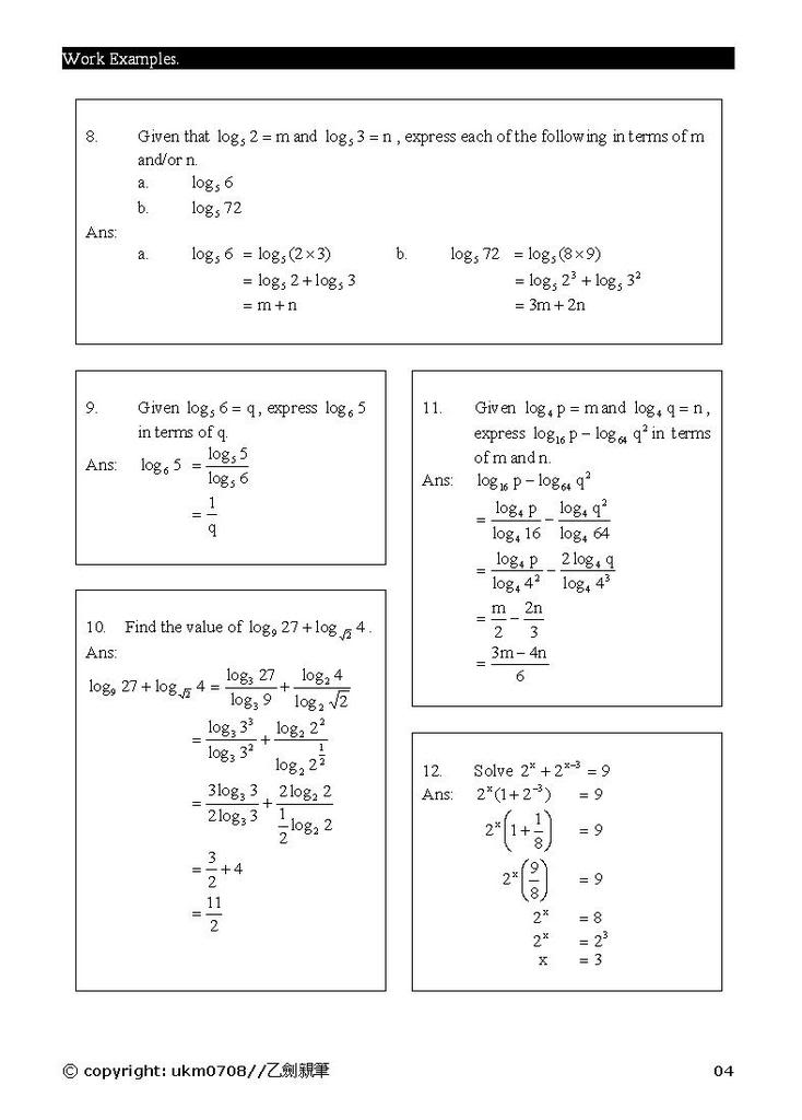 Add Math - form 4 chapter 5 notes Log4