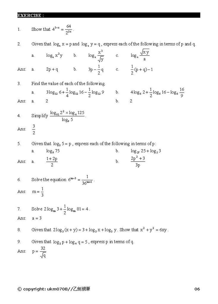 Add Math - form 4 chapter 5 notes Log6