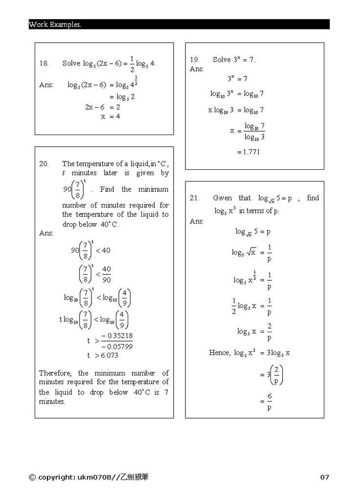 Add Math - form 4 chapter 5 notes Log7