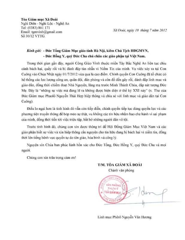 Văn thư của Tòa Giám mục Vinh về vụ Con Cuông 013