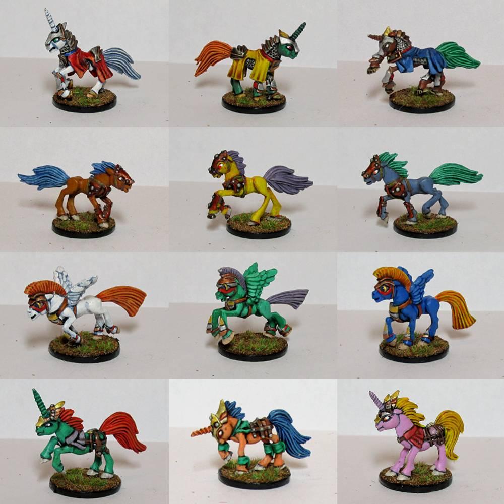 Pewter Ponies, little gaming sculptures on Kickstarter WarPoniesgroup2_zps381c3362