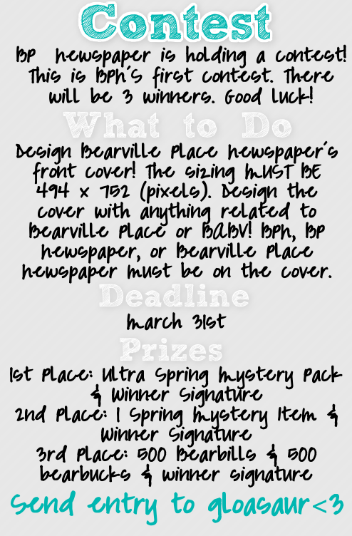 Bearville Place Newspaper // Issue 2 Contest