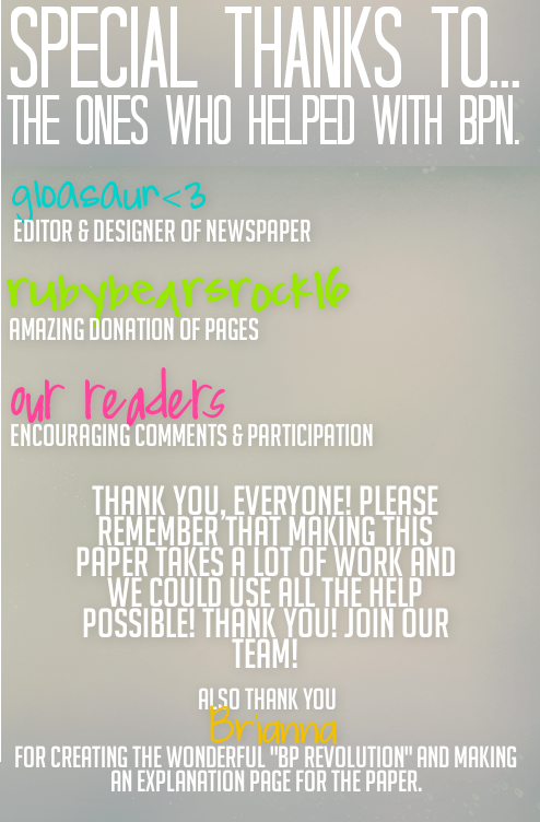 Bearville Place Newspaper // Issue 2 Specialthanks
