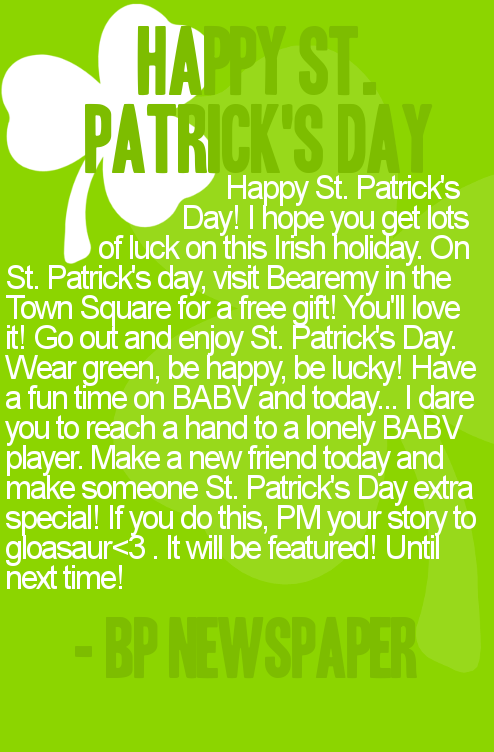 Bearville Place Newspaper // Issue 2 Stpatr