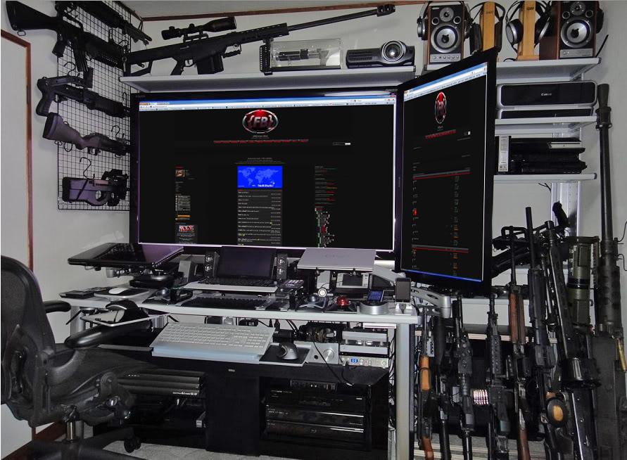 The true Man's office. Crazy-computer-den-guns-huge-computer