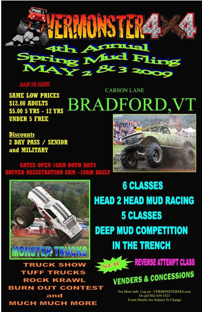 Vermonster4x4 4th annual spring mud fling May 2-3 09 Spring09postercopy