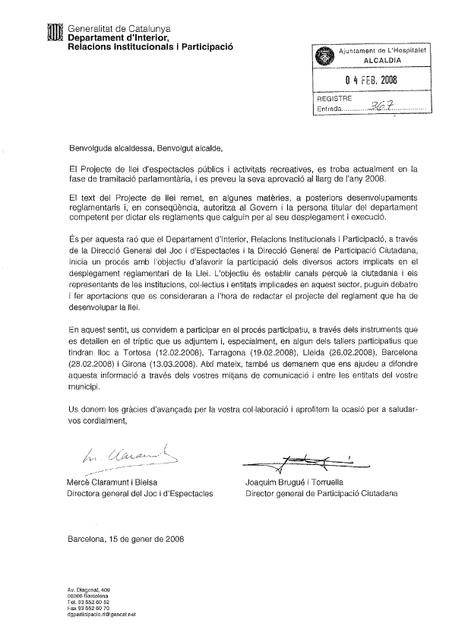 PARTICIPA EN EL PROYECTO DE LEY CATALANA DE ESPECTACULOS PUBLICO S Y ACTIVIDADES RECREATIVAS Projectedelleidespectaclesiactivita