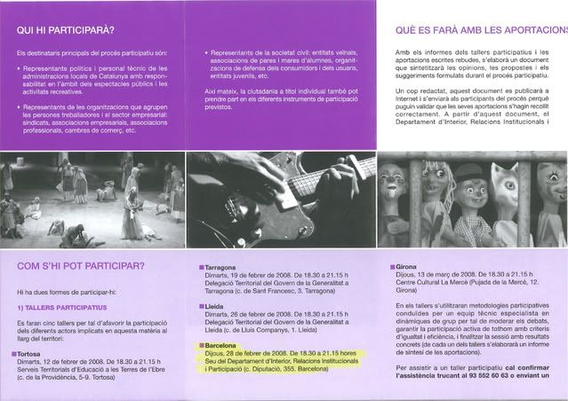 PARTICIPA EN EL PROYECTO DE LEY CATALANA DE ESPECTACULOS PUBLICO S Y ACTIVIDADES RECREATIVAS Dpticlleiespectacles