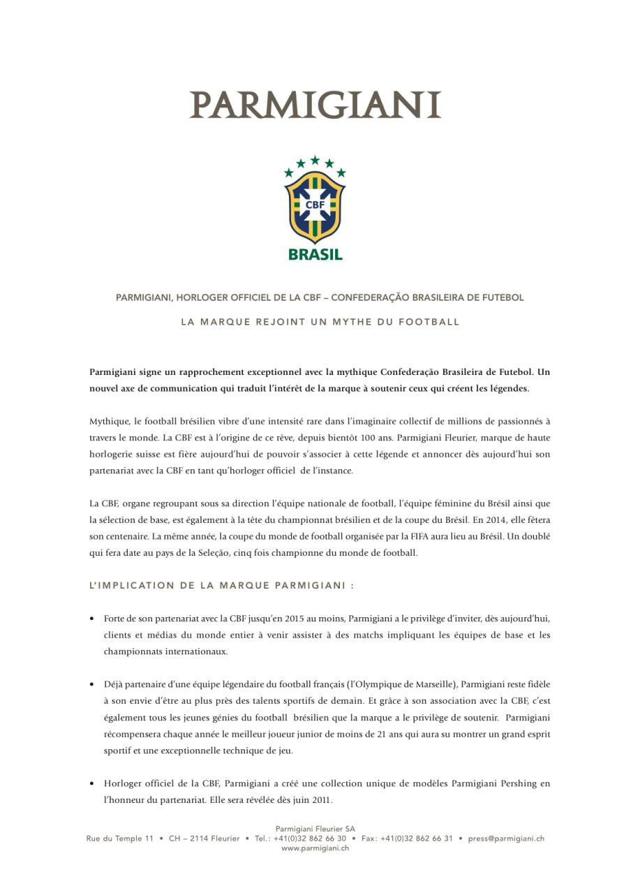 [Actu][Exclu FAM] Partenariat Parmigiani - CBF FR_DDP_CBF