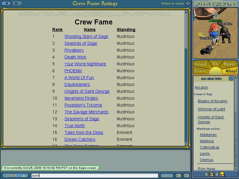 Fame record PuzzlePiratesFaithfully4