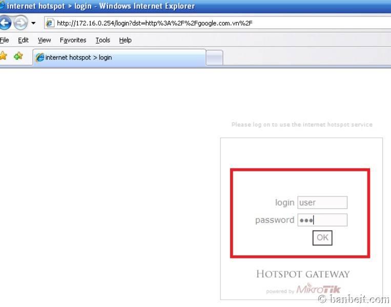 Sử dụng MIKROTIK RouterOS cho việc quản lý truy cập Internet Testhotsp3
