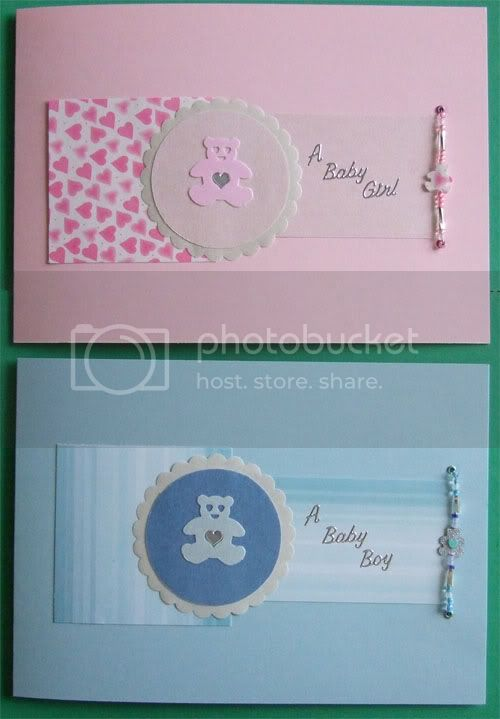Scatty's attempt at October's challenge Newbabycards