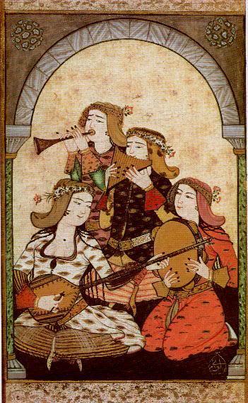 15th century Turkish Women's Clothing Levni-musicians