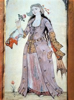 15th century Turkish Women's Clothing Levni-rose-mauve