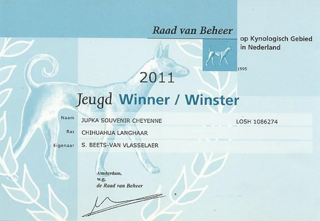 Jupka Championne d'Allemagne  Jupkaamsterdamjeugddwinster