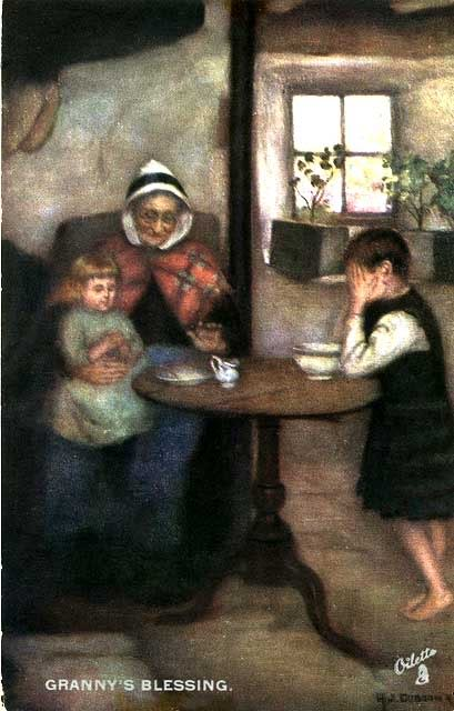 Représentations historiques du kilt 0_post_card_views_scotland_scottish_life_and_character_grannys_blessing
