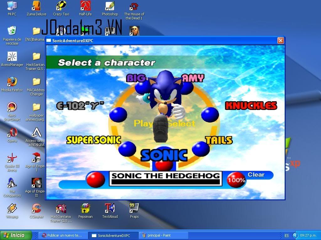 Sonic Adventure DX Seleccionpersonaje