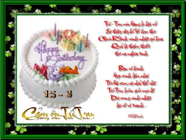 Happy Birthday To Rdinh 15/3 CamOnTuTru
