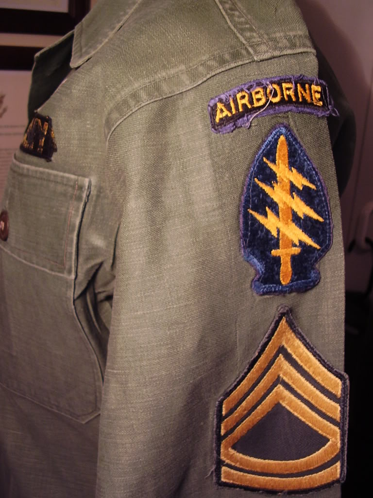 1st Pattern Fatigue of SFC Robert Allen Anspach, Det A-401 Mike Force KIA 11th Sept 1967. Uniforms388