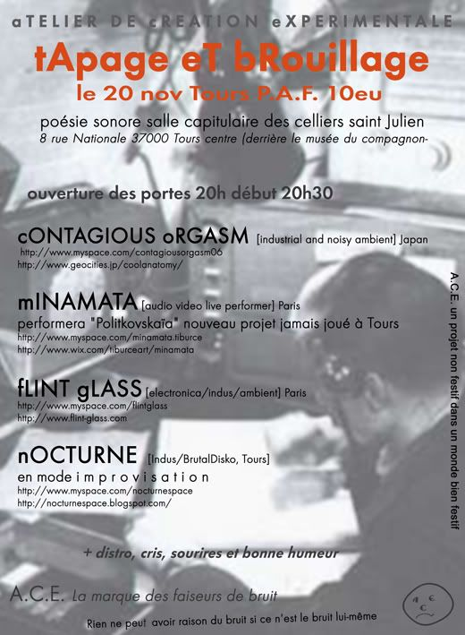 concert : cONTAGIOUS oRGASM/mINAMATA/nOCTURNE/fLINT gLASS Tapageetbrouillageconcert