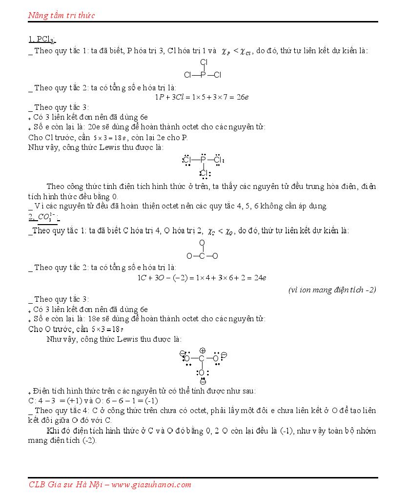 Quy tắc viết công thức Cấu tạo theo Lewis, CTCT + Dạng lai hóa + Hình học phân tử Lewis10003
