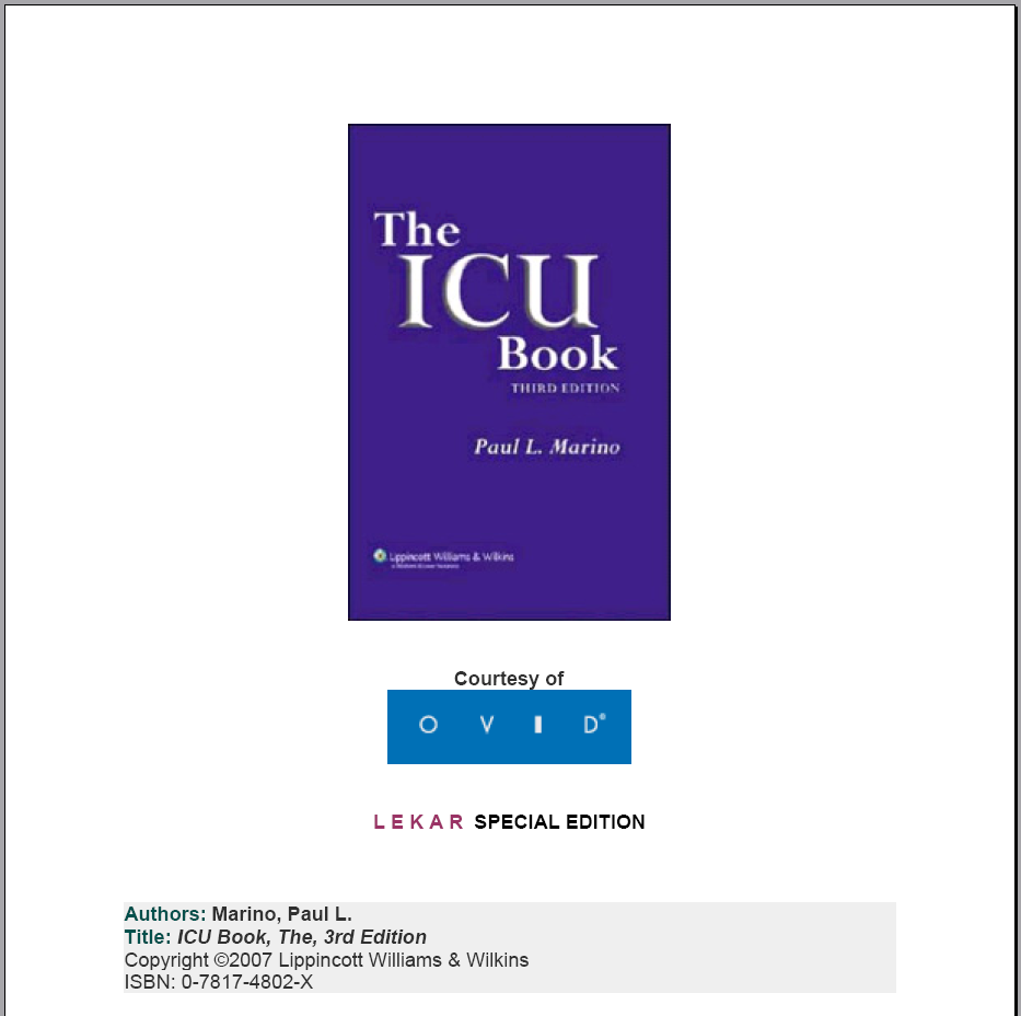ICU BOOK (2007) Icubook