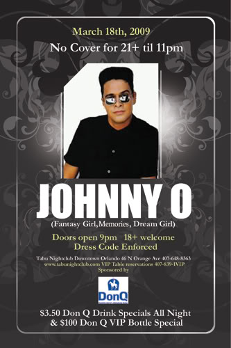 FREE TICKETS TO THE JOHNNY O CONCERT THIS WEDNESDAY @ TABU JohnnyO