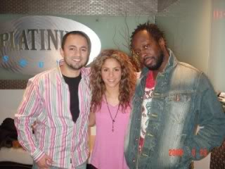 Shakira with Wyclef jean and Nadir Khayat at a recording studio Normal_EB1