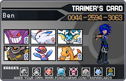 Ben isn't well.. Trainercard