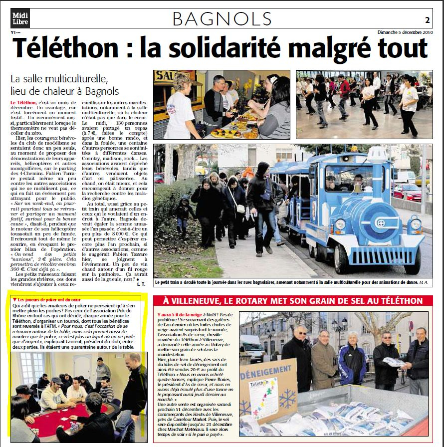 Midi Libre le 05/12/2010 Telethon2010ML