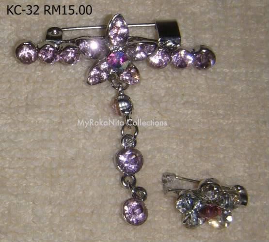 Swarovski Crystal & Pearl Brooches From Sabah KC-32-RM15-1