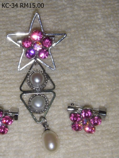 Swarovski Crystal & Pearl Brooches From Sabah KC-34-RM15-1